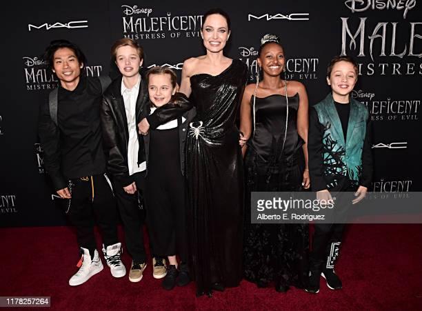 Pax Thien Jolie-Pitt, Shiloh Nouvel Jolie-Pitt, Vivienne Marcheline Jolie-Pitt, Actor Angelina Jolie, Zahara Marley Jolie-Pitt, and Knox Léon...