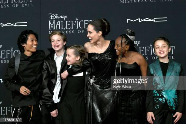 Pax Thien Jolie-Pitt, Shiloh Nouvel Jolie-Pitt, Vivienne Marcheline Jolie-Pitt, Angelina Jolie, Zahara Narley Jolie-Pitt and Knox Leon Jolie-Pitt...