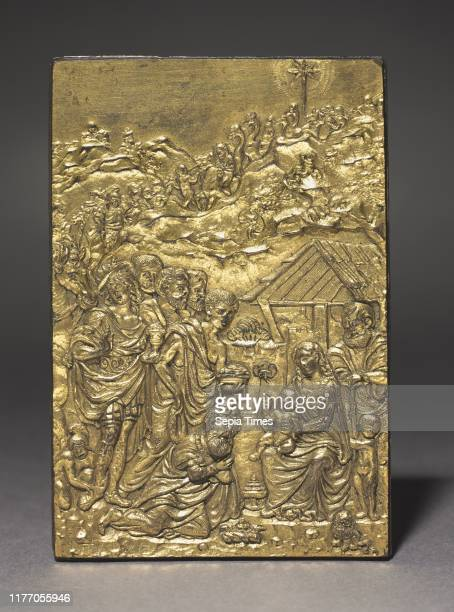 Pax with the Adoration of the Magi, c. 1500. Moderno . Gilt bronze; overall: 9.5 x 6.6 cm .