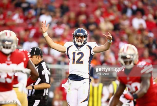 Paxton Lynch of the Denver Broncos reacts during their game against the San Francisco 49ers at Levi's Stadium on August 19 2017 in Santa Clara...