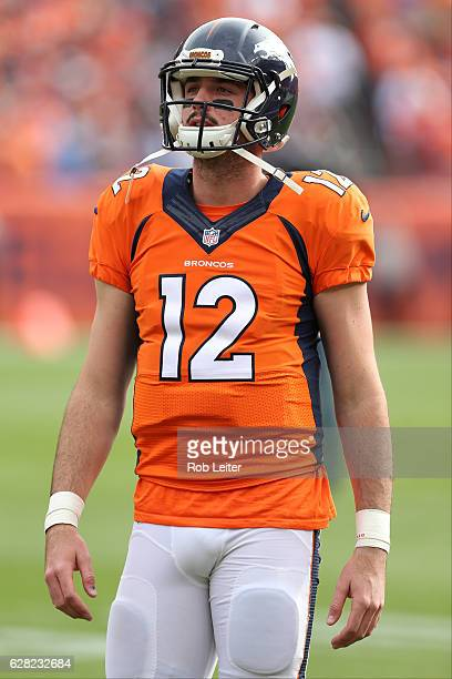 Paxton Lynch of the Denver Broncos warms up before the game against the San Diego Chargers at Sports Authority Field At Mile High on October 30 2016...