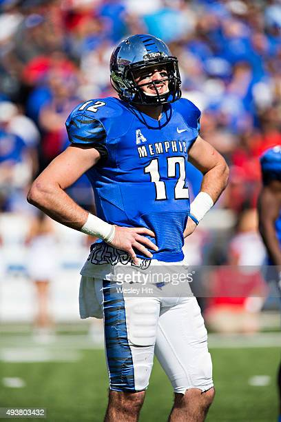 Paxton Lynch of the Memphis Tigers looks to the sidelines during a game against the Ole Miss Rebels at Liberty Bowl Memorial Stadium on October 17...