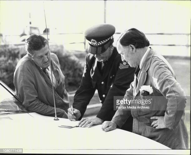 Pay Clerke Bill Johnson and John Margan employees of the Maritime Services Board tell Sgt J Unwin of today's holdup in which two hooded bandits...