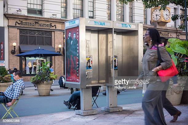 Pay phone in midtown Manhattan in New York on Monday, October 6, 2014. Thousands of payphone kiosks in New York are slated to become WiFi hubs with...