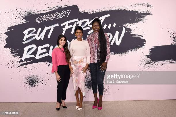 Payal Kadakia Tamron Hall and Bozoma Saint John pose during Glamour Celebrates 2017 Women Of The Year Live Summit at Brooklyn Museum on November 13...
