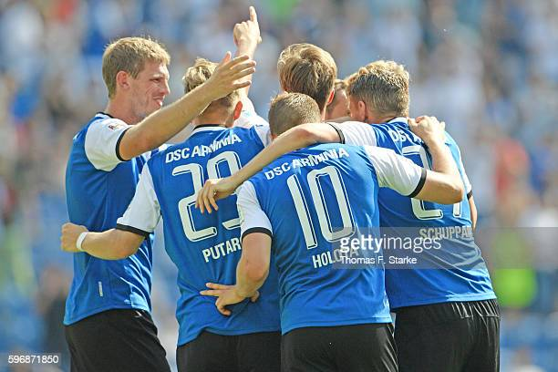Payers of Bielefeld celebrate their teams third goal during the Second Bundesliga match between DSC Arminia Bielefeld and 1 FC Union Berlin at...