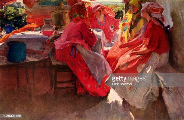 Paying a Visit' A group of village women in brightlycoloured clothes and scarves chatting in a sunlit room Abram Arkhipov studied in Moscow and St...