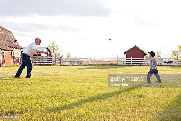 Paying baseball with Grandpa