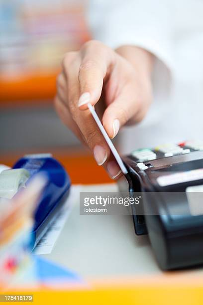 Paying by credit card at the pharmacy