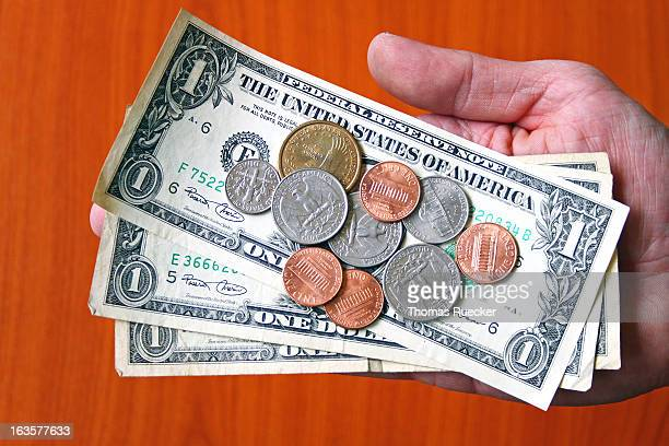 paying money: usa dollar bank notes and coins - us coin stock pictures, royalty-free photos & images