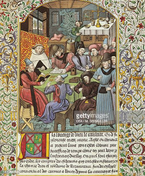 Paying rents facsimile of an illuminated page from an accounts book France 15th Century
