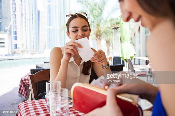 Paying the check at the restaurant