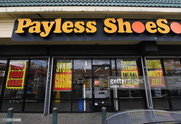 A Payless Shoes store is pictured in Los Angeles California on February 17 2019 after the company announced it will close all 2100 of its locations...