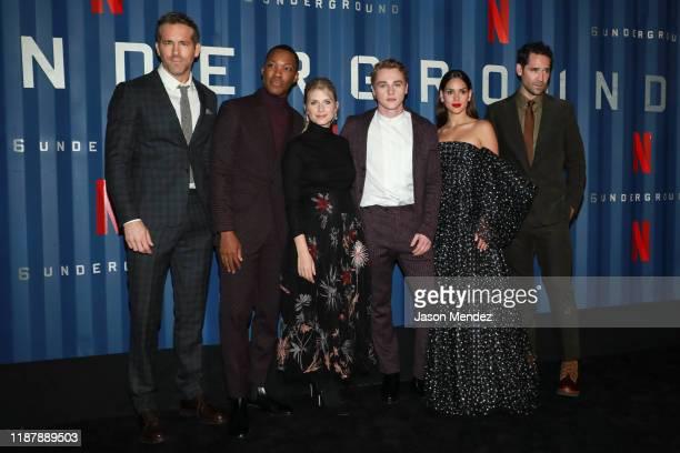 "Payman Maadi, Corey Hawkins, Ryan Reynolds, Adria Arjona and Manuel Garcia Rulfo, Lior Raz attend Netflix's ""6 Underground"" New York Premiere at The..."