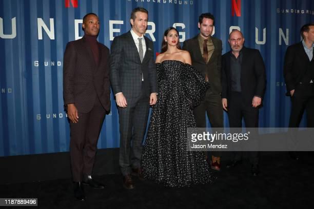"Payman Maadi, Corey Hawkins, Ryan Reynolds, Adria Arjona, Manuel Garcia Rulfo and Lior Raz attend Netflix's ""6 Underground"" New York Premiere at The..."