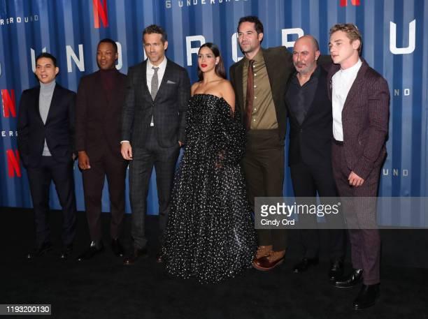 "Payman Maadi, Corey Hawkins, Ryan Reynolds, Adria Arjona, Manuel Garcia-Rulfo, Lior Raz and Ben Hardy attend Netflix's ""6 Underground"" New York..."