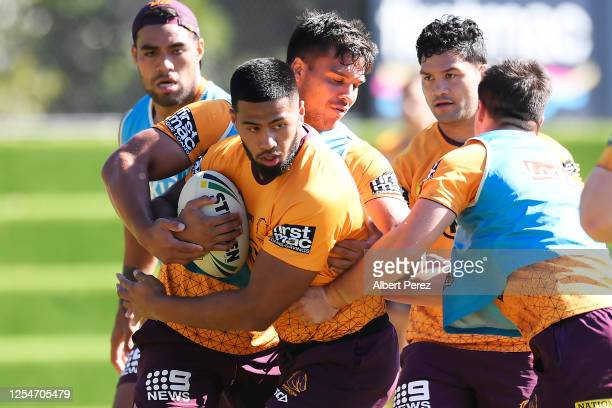 Payne Haas in action during a Brisbane Broncos NRL training session at the Clive Berghofer Centre on July 07 2020 in Brisbane Australia