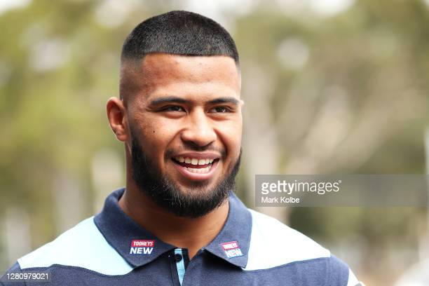 Payne Haas is interviewed during a New South Wales State of Origin media opportunity at the NSWRL Centre of Excellence on October 19, 2020 in Sydney,...