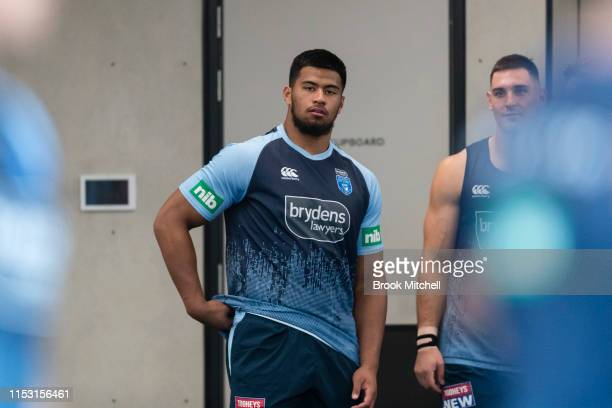 Payne Haas is pictured during a New South Wales Blues State of Origin training session at NSWRL Centre of Excellence Field on June 02, 2019 in...