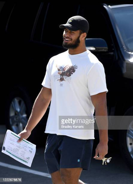Payne Haas is seen departing a club meeting at Broncos headquarters on May 04, 2020 in Brisbane, Australia. NRL Players are gathering for team...