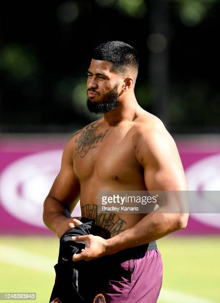 Payne Haas is seen during a Brisbane Broncos NRL training session at the Clive Berghofer Centre on June 09, 2020 in Brisbane, Australia.