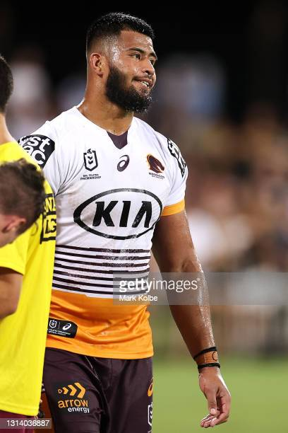 Payne Haas of the Broncos looks dejected after a try during the round seven NRL match between the Parramatta Eels and the Brisbane Broncos at TIO...