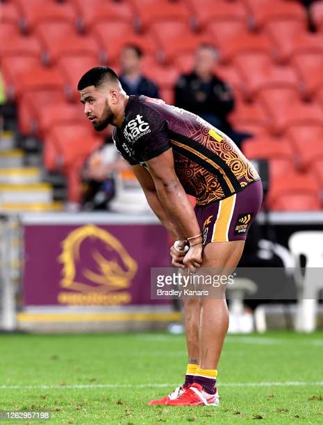 Payne Haas of the Broncos looks dejected after his team loses the round 12 NRL match between the Brisbane Broncos and the Cronulla Sharks on July 31,...