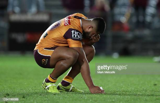 Payne Haas of the Broncos looks dejected during the round eight NRL match between the New Zealand Warriors and the Brisbane Broncos at Central Coast...