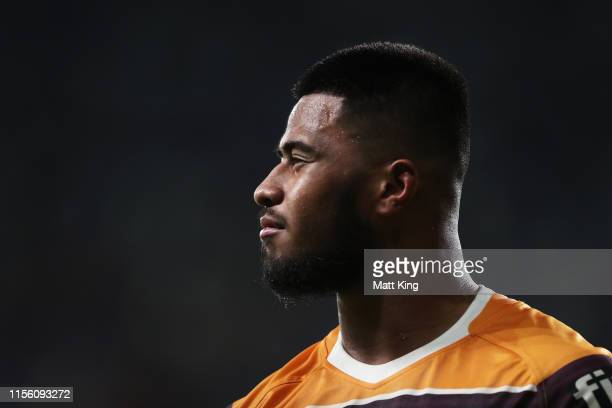 Payne Haas of the Broncos looks on during the round 14 NRL match between the Parramatta Eels and the Brisbane Broncos at Bankwest Stadium on June 15,...