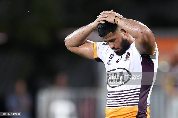 Payne Haas of the Broncos reacts after losing the round seven NRL match between the Parramatta Eels and the Brisbane Broncos at TIO Stadium on April...