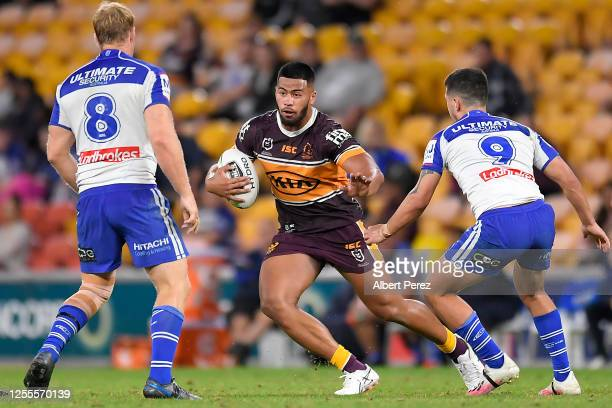 Payne Haas of the Broncos runs at the defence during the round nine NRL match between the Brisbane Broncos and the Canterbury Bulldogs at Suncorp...