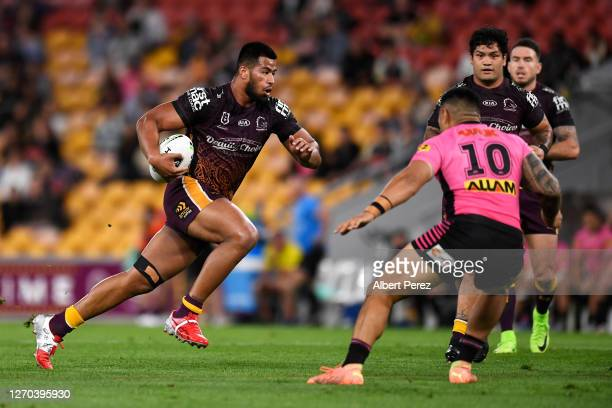 Payne Haas of the Broncos runs the ball during the round 17 NRL match between the Brisbane Broncos and the Penrith Panthers at Suncorp Stadium on...