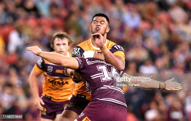 Payne Haas of the Broncos takes on the defence of Corey Waddell of the Sea Eagles during the round nine NRL match between the Manly Sea Eagles and...