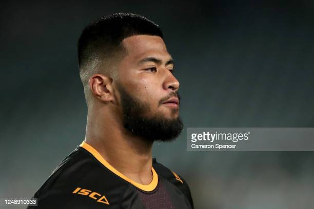 Payne Haas of the Broncos warms up before the round five NRL match between the Manly Sea Eagles and the Brisbane Broncos at Central Coast Stadium on...