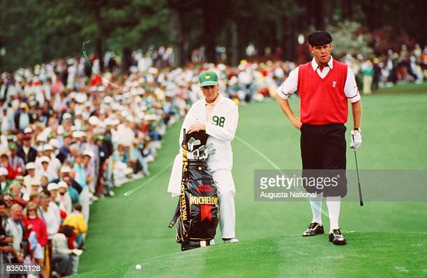 Payne Stewart and his caddie during the 1998 Masters Tournament at Augusta National Golf Club in April 1998 in Augusta Georgia