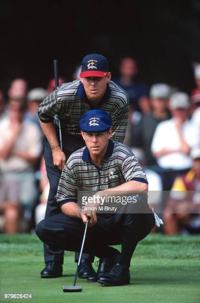 Payne Stewart and Justin Leonard of the USA in action during the Ryder Cup at The Country Club on the September 25th 1999 in Brookline Massachusetts