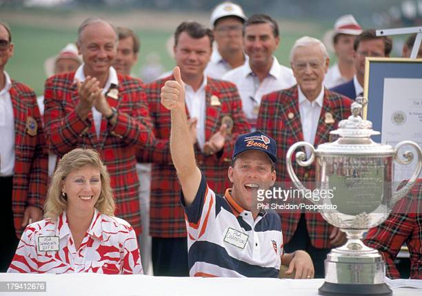 Payne Stewart of the United States celebrates with his wife Tracey after winning the US PGA Championship held at the Kemper Lakes Golf Club in...