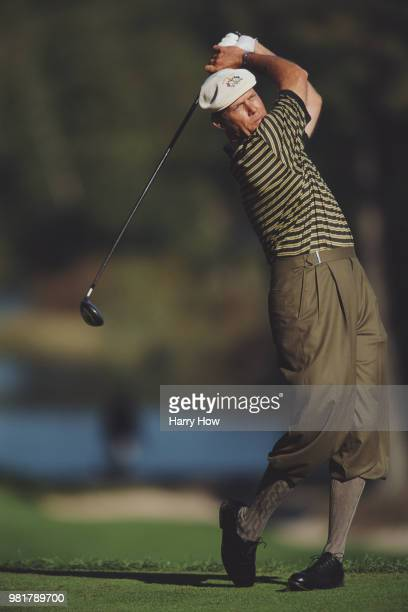 Payne Stewart of the United States complete with plus fours keeps his eye on his shot during the morning foursomes of the 33rd Ryder Cup Matches...