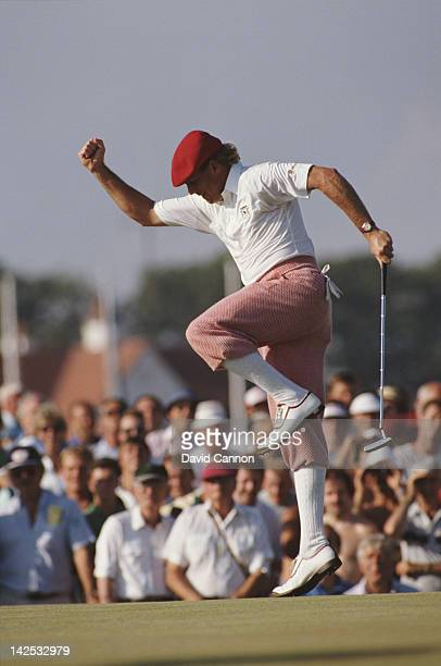 Payne Stewart of the United States jumps for joy as he birdies at the 17th during the 117th Open Championship on 31st July 1989 at the Royal Troon...