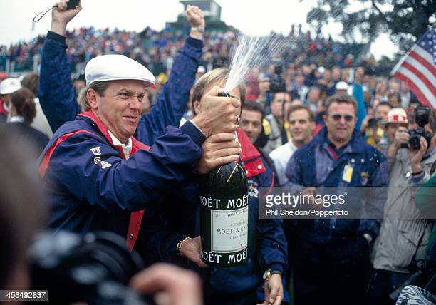 Payne Stewart of the United States team sprays champagne after the United States team wins the Ryder Cup golf competition held at The Belfry...