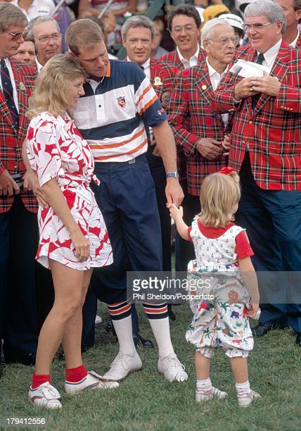 Payne Stewart of the United States with his wife Tracey and his daughter Chelsea after winning the US PGA Championship held at the Kemper Lakes Golf...