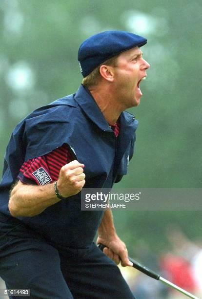 Payne Stewart of the US celebrates after sinking his putt on the eighteenth green at Pinehurst No 2 during the final round of the US Open...