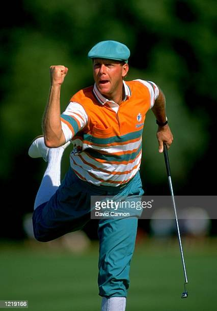 Payne Stewart of the USA celebrates during the US Open at the Hazeltine National Golf Club in Minneapolis Minnesota USA Stewart won the event with a...