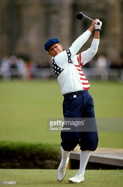 Payne Stewart of the USA drives down the fairway during the British Open at St Andrews Golf Club in Fife Scotland Mandatory Credit David...