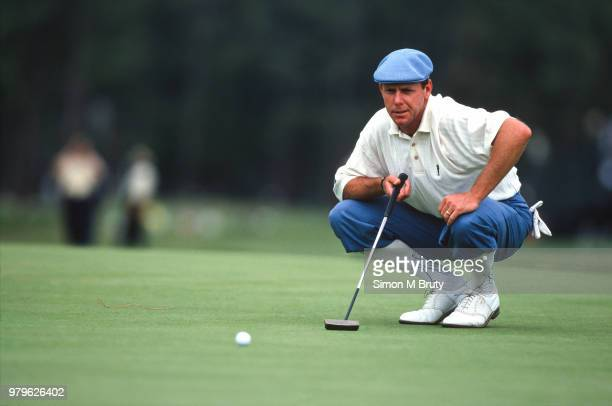 Payne Stewart of the USA lines up his putt during US Open at Pinehurst Resort Course No 2 on June 19th 1999 in Pinehurst North Carolina