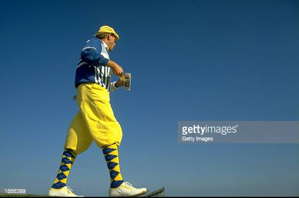 Payne Stewart of the USA surveys the course during the British Open at St Andrews Golf Club in Fife Scotland Mandatory Credit Allsport UK /Allsport