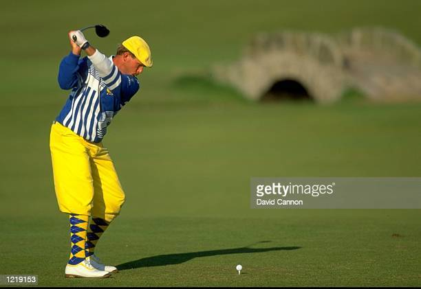 Payne Stewart of the USA tees off during the British Open at St Andrews Golf Club in Fife Scotland Mandatory Credit David Cannon/Allsport