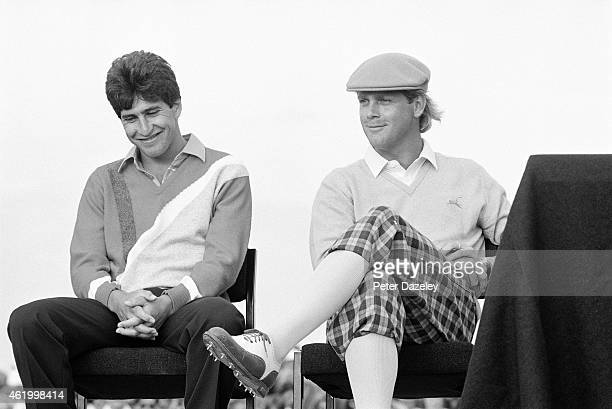 Payne Stewart of the USA the runner up and JoseMaria Olazabal of Spain the winner of the Silver Medal during the114th Open Championship played at...