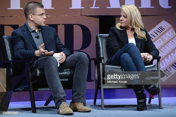 """Paypal Inc CoFounder Max Levchin and SpaceX COO Gwynne Shotwell speak onstage during """"Slingshots and Moonshots"""" at the Vanity Fair New Establishment..."""