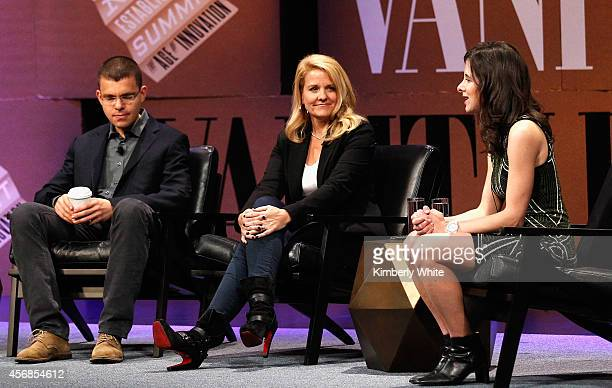 Paypal Inc CoFounder Max Levchin SpaceX COO Gwynne Shotwell and The Information Founder Editor in Chief and Moderator Jessica Lessin speak onstage...